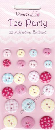 Tea Party 22 Adhesive Buttons by Dovecraft